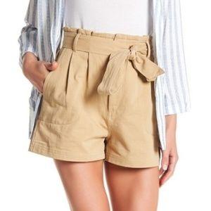 NWT Elodie Khaki Tie Paper Bag Waist ShortsS